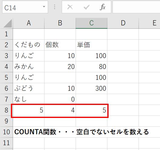 COUNTA関数で数えられない、数が合わないときに確認したい点