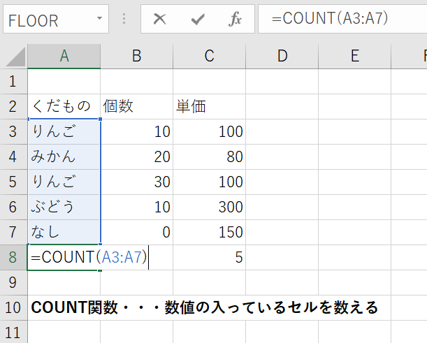数値(数字)の入力のあるセルの数を数えたいときにつかう、COUNT関数